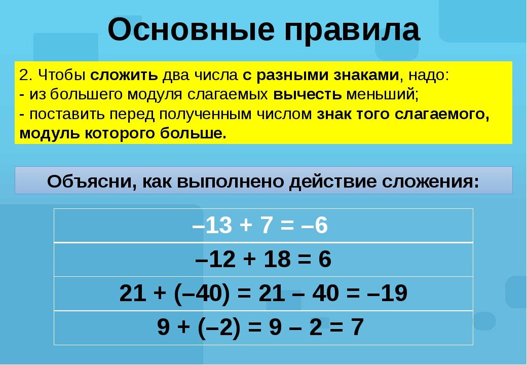 Основные правила 2. Чтобы сложить два числа с разными знаками, надо: - из бол...