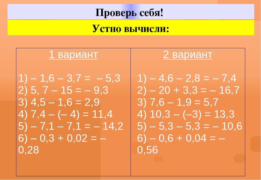Проверь себя! Устно вычисли: 1вариант 1) – 1,6 – 3,7 = – 5,3 2) 5, 7 – 15 = –...