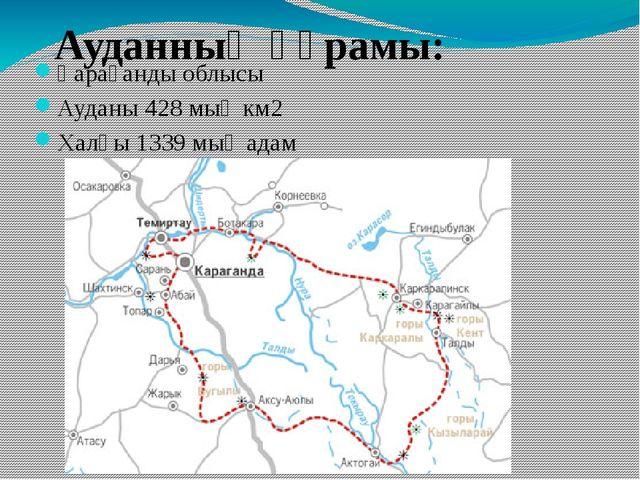 Қарағанды облысы Ауданы 428 мың км2 Халқы 1339 мың адам Ауданның құрамы: