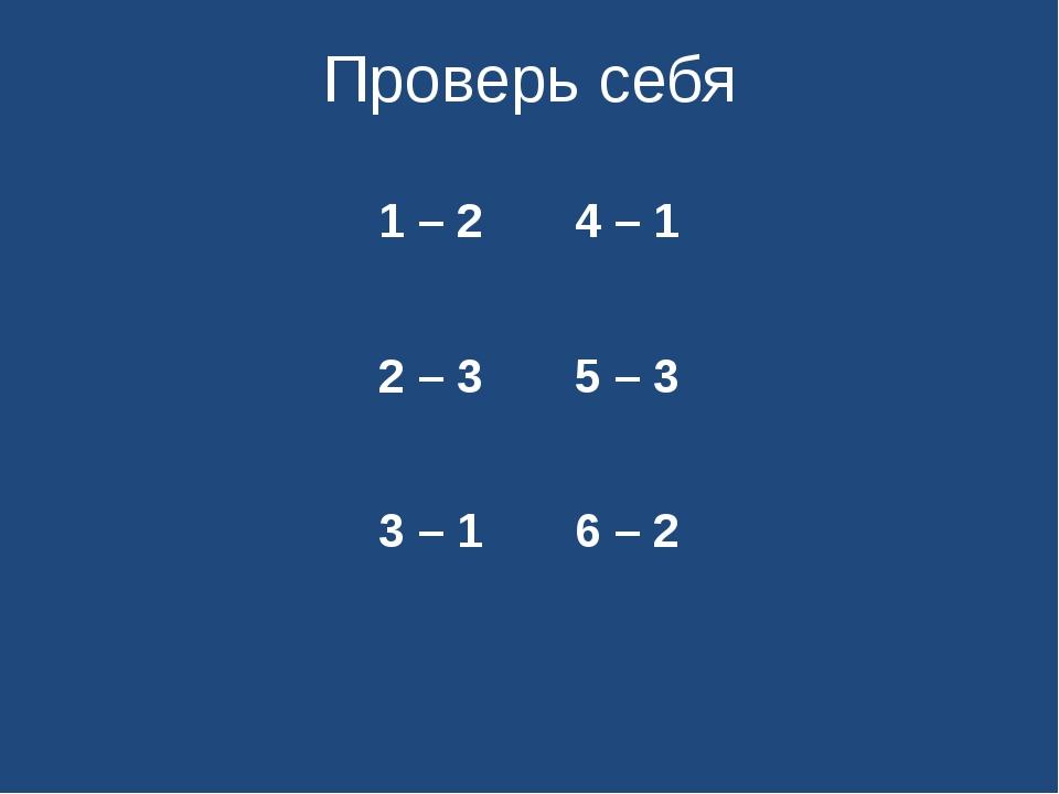 Проверь себя 1 – 2 4 – 1 2 – 3 5 – 3 3 – 1 6 – 2