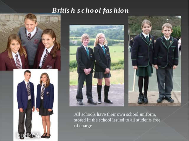 British school fashion : All schools have their own school uniform, stored in...