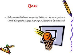 Цель: Совершенствование техники ведения мяча, передачи - ловли баскетбольного