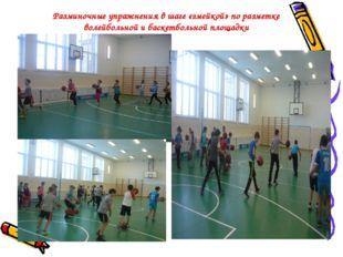 Разминочные упражнения в шаге «змейкой» по разметке волейбольной и баскетболь