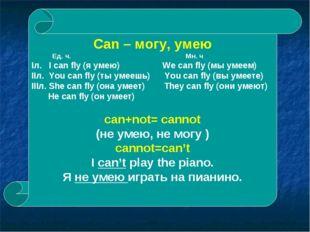 Can – могу, умею Ед. ч. Мн. ч Iл. I can fly (я умею) We can fly (мы умеем) II