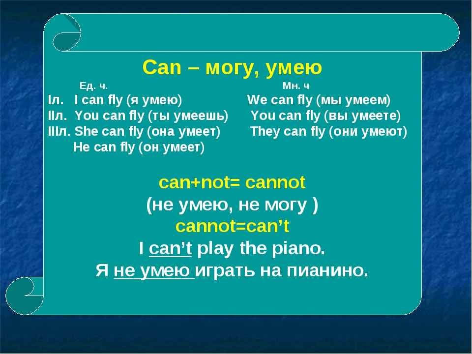 Can – могу, умею Ед. ч. Мн. ч Iл. I can fly (я умею) We can fly (мы умеем) II...