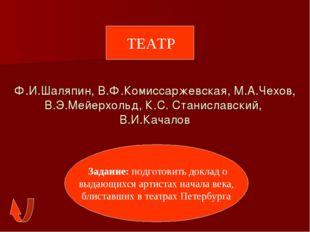 Ф.И.Шаляпин, В.Ф.Комиссаржевская, М.А.Чехов, В.Э.Мейерхольд, К.С. Станиславск