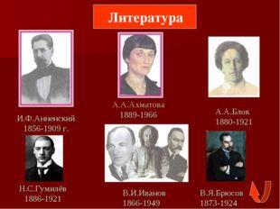 Литература И.Ф.Анненский 1856-1909 г. А.А.Ахматова 1889-1966 А.А.Блок 1880-1