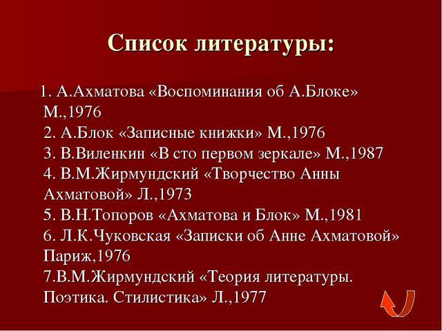 Список литературы: 1. А.Ахматова «Воспоминания об А.Блоке» М.,1976 2. А.Блок...