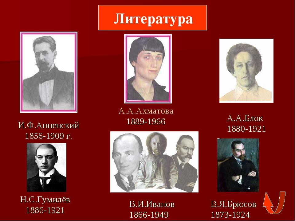 Литература И.Ф.Анненский 1856-1909 г. А.А.Ахматова 1889-1966 А.А.Блок 1880-1...
