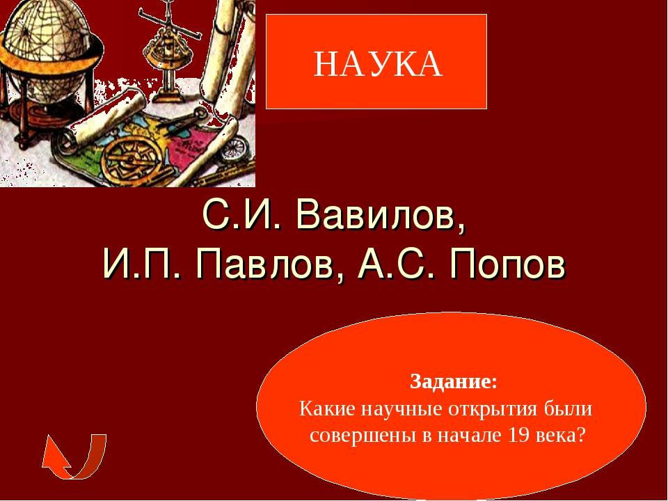НАУКА С.И. Вавилов, И.П. Павлов, А.С. Попов Задание: Какие научные открытия...