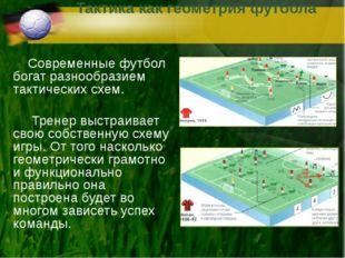 Тактика как геометрия футбола Современные футбол богат разнообразием тактичес