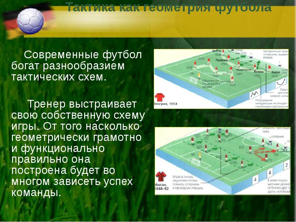 Тактика как геометрия футбола Современные футбол богат разнообразием тактичес...