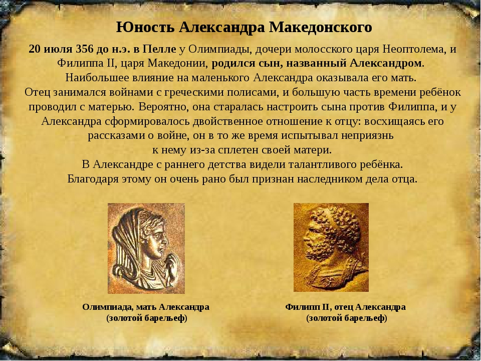 Юность Александра Македонского 20 июля356 до н.э. в ПеллеуОлимпиады, доче...