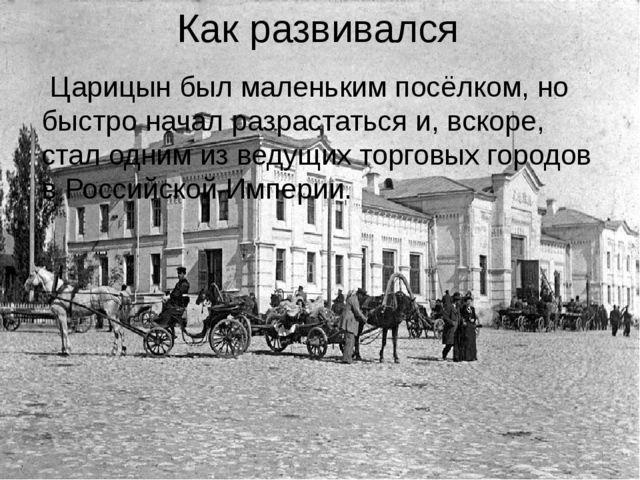 Как развивался Царицын был маленьким посёлком, но быстро начал разрастаться и...