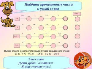 * Выбор ответа с соответствующей буквой загаданного слова: 17-в; 7-л; 0,1-и;