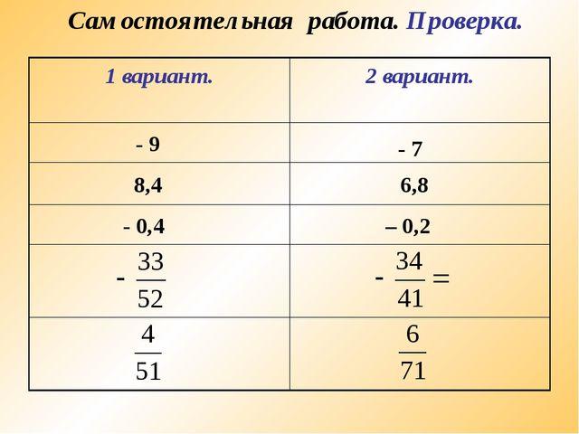 Самостоятельная работа. Проверка. - 9 - 7 8,4 6,8 - 0,4 – 0,2