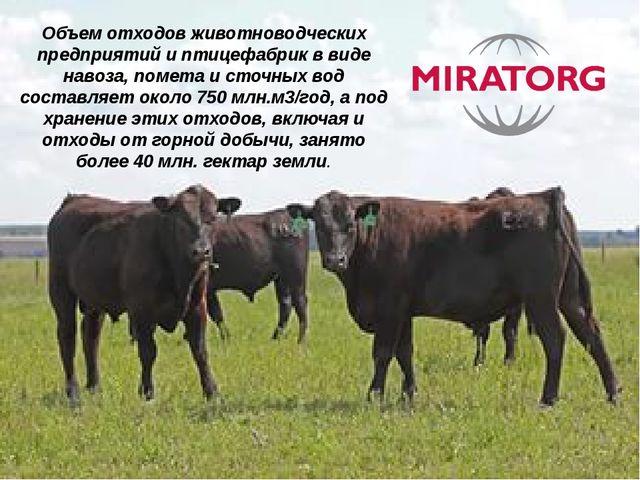Объем отходов животноводческих предприятий и птицефабрик в виде навоза, помет...