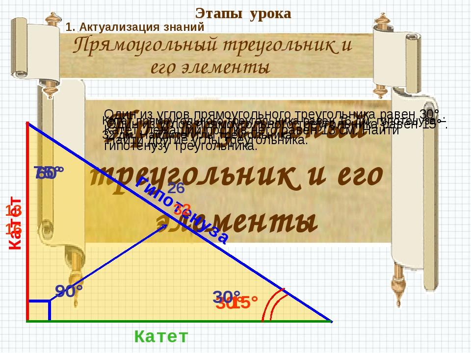 Прямоугольный треугольник и его элементы Прямоугольный треугольник и его элем...
