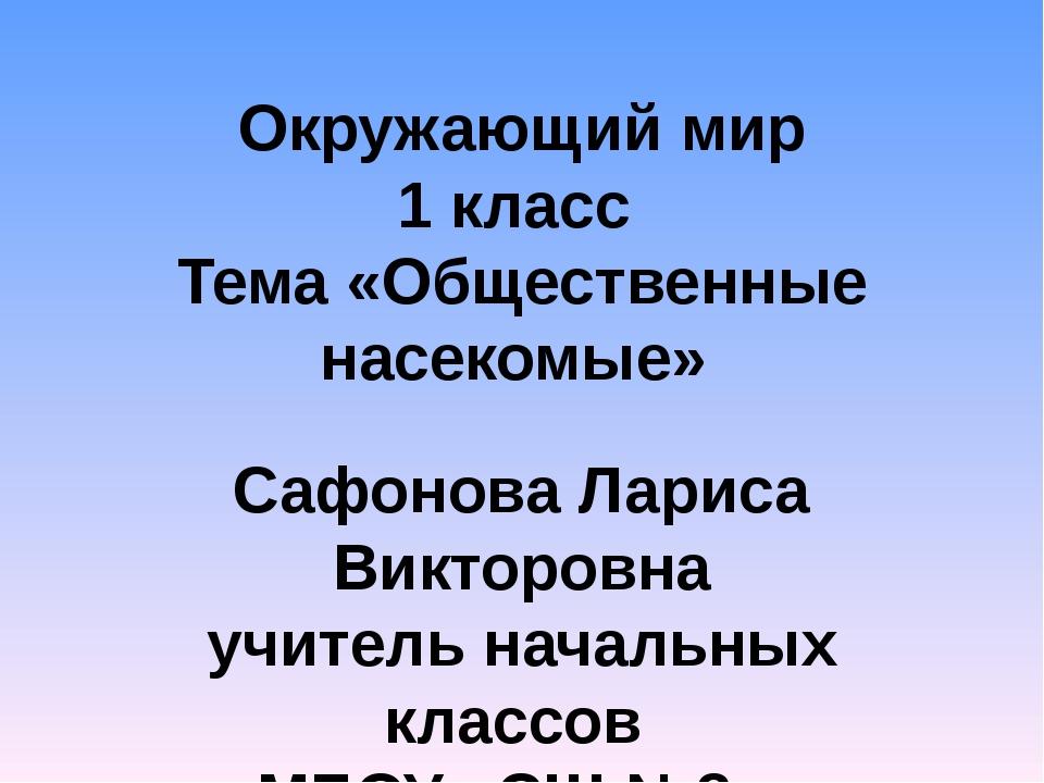 Окружающий мир 1 класс Тема «Общественные насекомые» Сафонова Лариса Викторов...