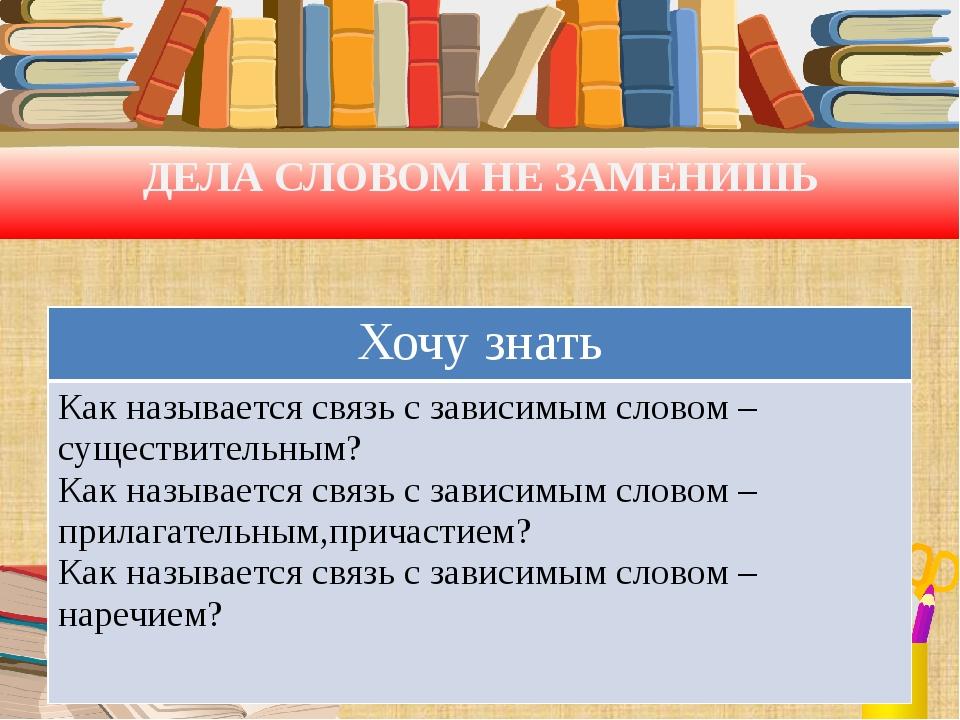 ДЕЛА СЛОВОМ НЕ ЗАМЕНИШЬ Хочу знать Как называется связь с зависимым словом –...