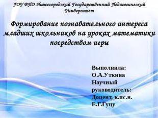 Условия социализации ГОУ ВПО Нижегородский Государственный Педагогический Уни