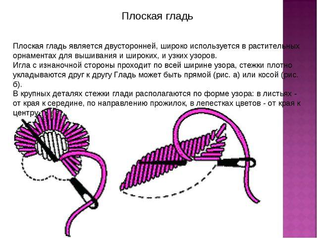 Плоская гладь Плоская гладь является двусторонней, широко используется в раст...