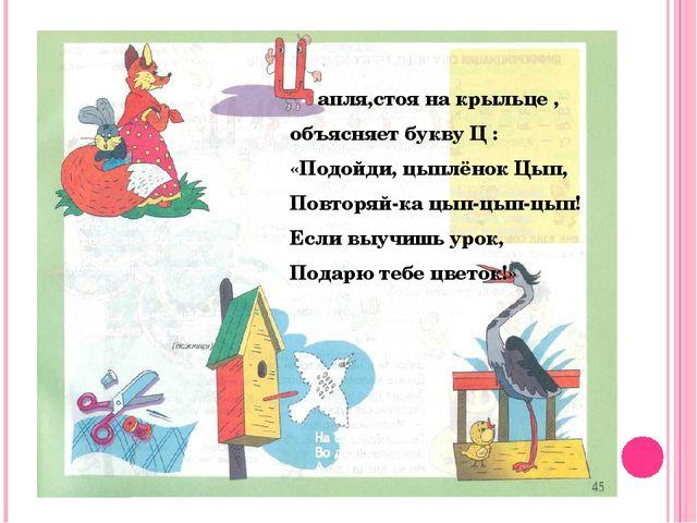 апля,стоя на крыльце , объясняет букву Ц : «Подойди, цыплёнок Цып, Повторяй-...