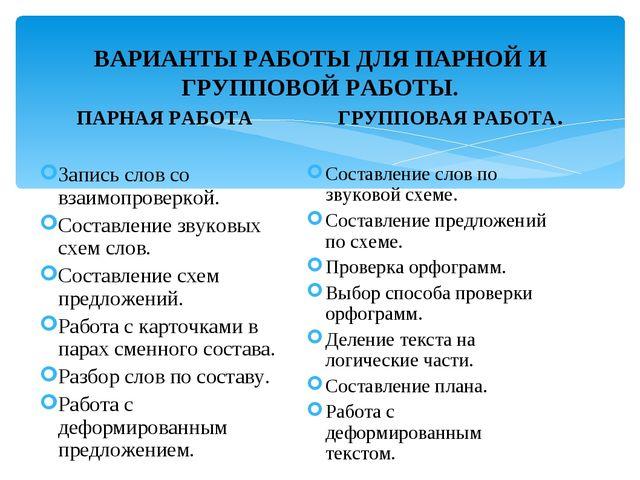 ВАРИАНТЫ РАБОТЫ ДЛЯ ПАРНОЙ И ГРУППОВОЙ РАБОТЫ. ПАРНАЯ РАБОТА ГРУППОВАЯ РАБОТА...