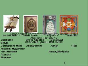 Проверяем соответствие между названиями священных книг и словами, данными ни