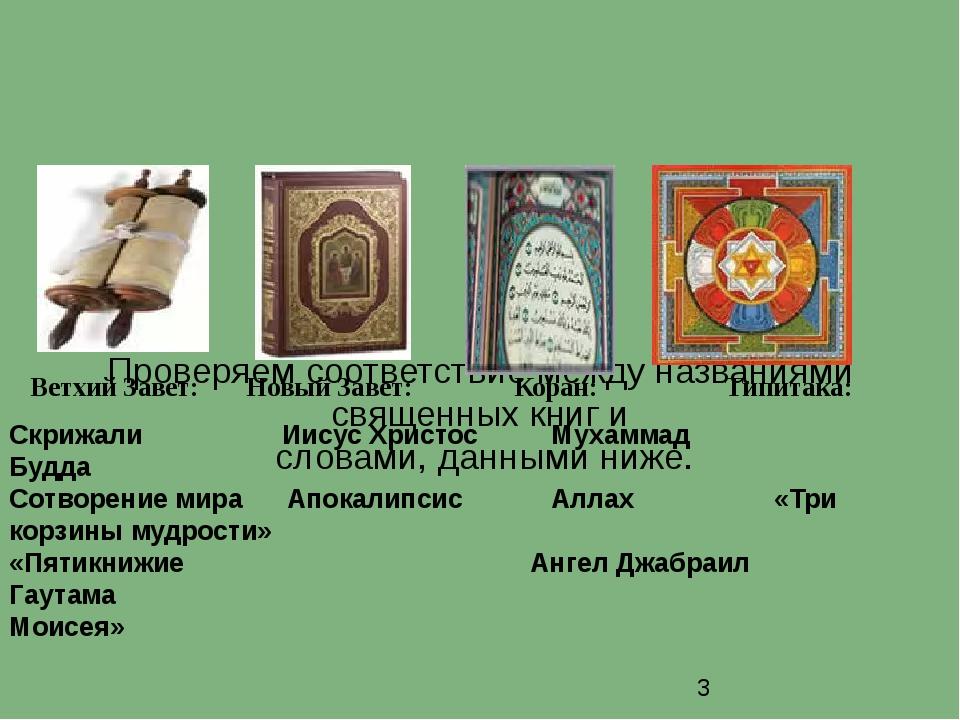 Проверяем соответствие между названиями священных книг и словами, данными ни...