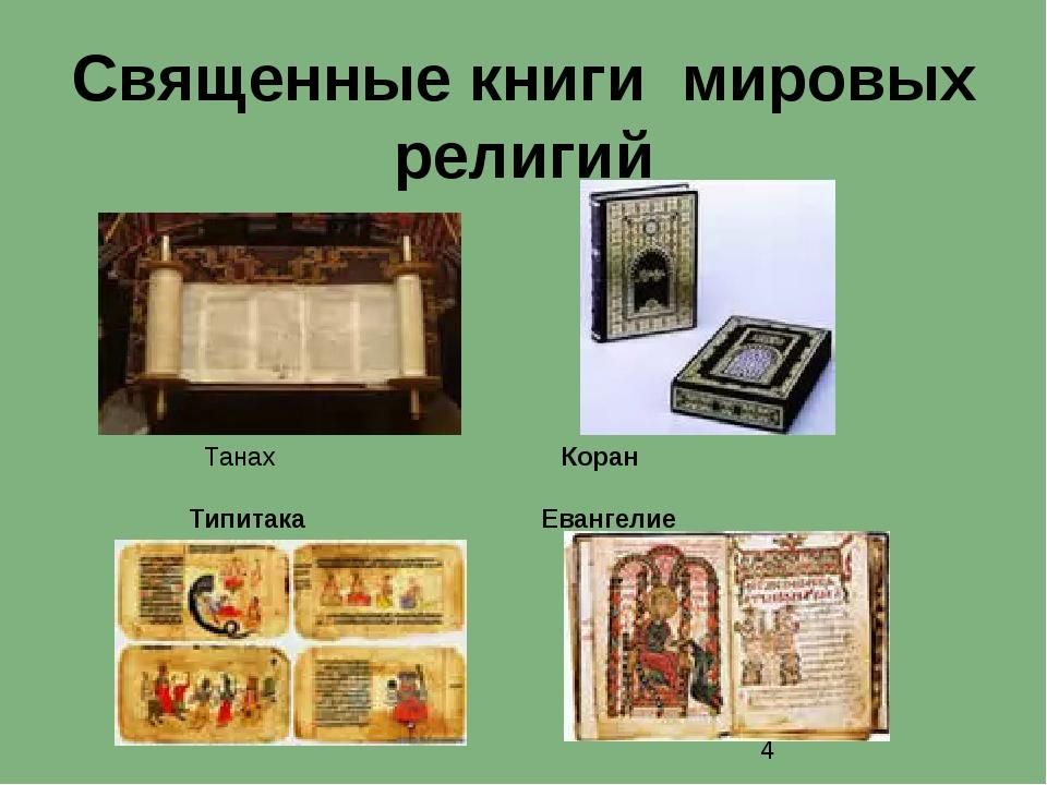 Священные книги мировых религий Танах Коран Типитака Евангелие