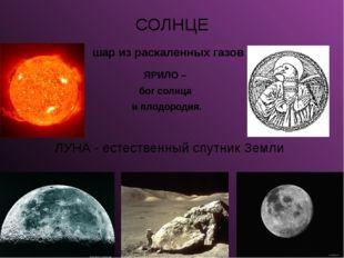 СОЛНЦЕ шар из раскаленных газов ЯРИЛО – бог солнца и плодородия. ЛУНА - естес