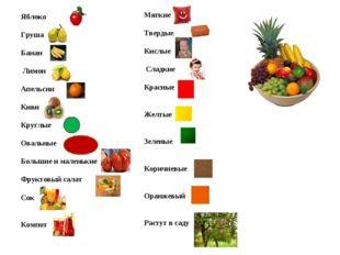 Яблоко Груша Банан Лимон Апельсин Киви Круглые Овальные Большие и маленькие Ф