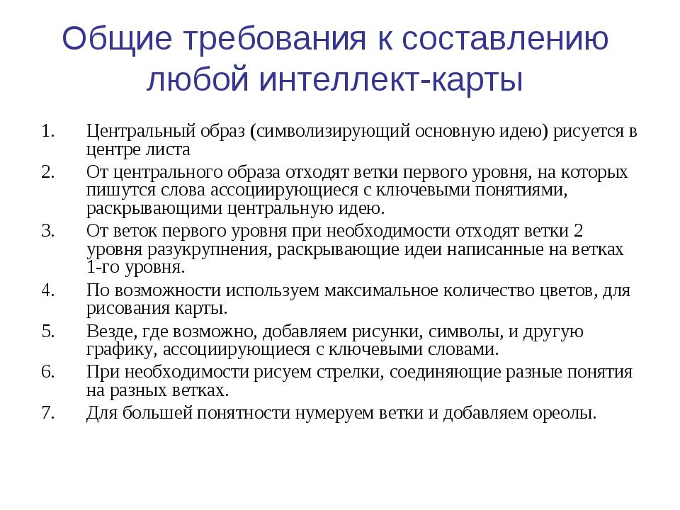 Общие требования к составлению любой интеллект-карты Центральный образ (симво...