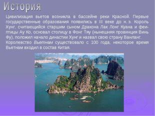 Цивилизация вьетов возникла в бассейне реки Красной. Первые государственные о