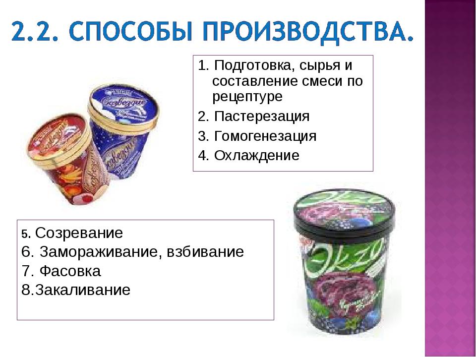 1. Подготовка, сырья и составление смеси по рецептуре 2. Пастерезация 3. Гомо...