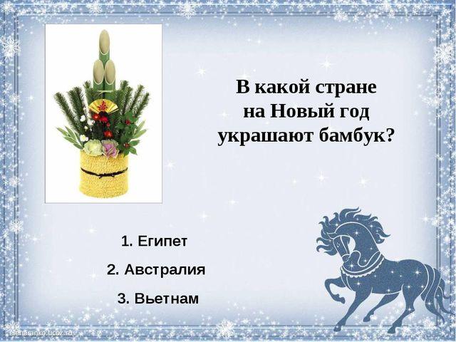 В какой стране на Новый год украшают бамбук? 1. Египет 2. Австралия 3. Вьетнам