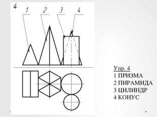 Упр. 4 1 ПРИЗМА 2 ПИРАМИДА 3 ЦИЛИНДР 4 КОНУС