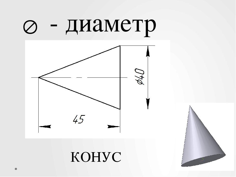  - диаметр КОНУС