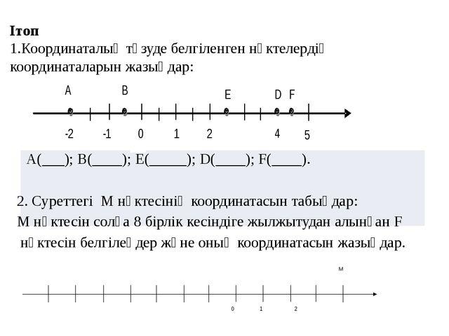 Ітоп 1.Координаталық түзуде белгіленген нүктелердің координаталарын жазыңдар...
