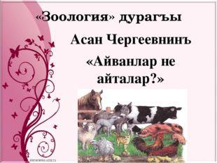 «Зоология» дурагъы Асан Чергеевнинъ «Айванлар не айталар?»