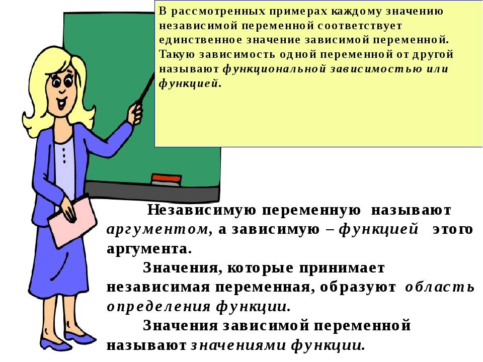 В рассмотренных примерах каждому значению независимой переменной соответству...