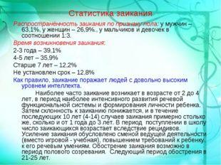 Статистика заикания Распространённость заикания по признаку пола: у мужчин –