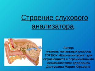 Строение слухового анализатора. Автор: учитель начальных классов ТОГБОУ «Школ
