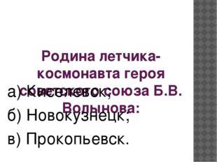 Родина летчика- космонавта героя советского союза Б.В. Волынова: а) Киселевск