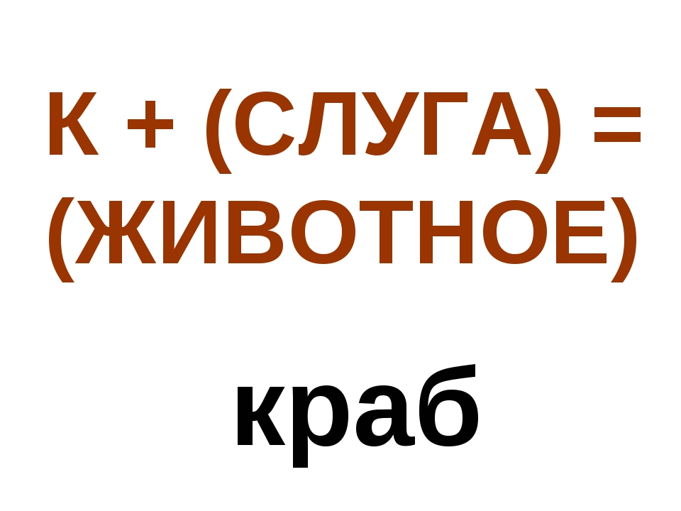 К + (СЛУГА) = (ЖИВОТНОЕ) краб