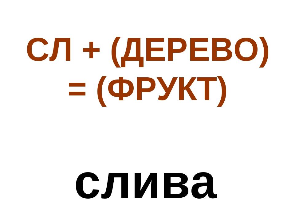 СЛ + (ДЕРЕВО) = (ФРУКТ) слива