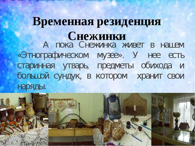 Временная резиденция Снежинки А пока Снежинка живет в нашем «Этнографическом...