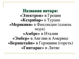 Названия янтаря: «Электрон» в Греции «Кехрибар» в Турции «Мерикиви» в Финлянд