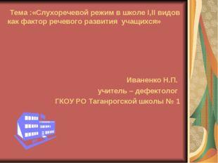 Тема :«Слухоречевой режим в школе I,II видов как фактор речевого развития уч